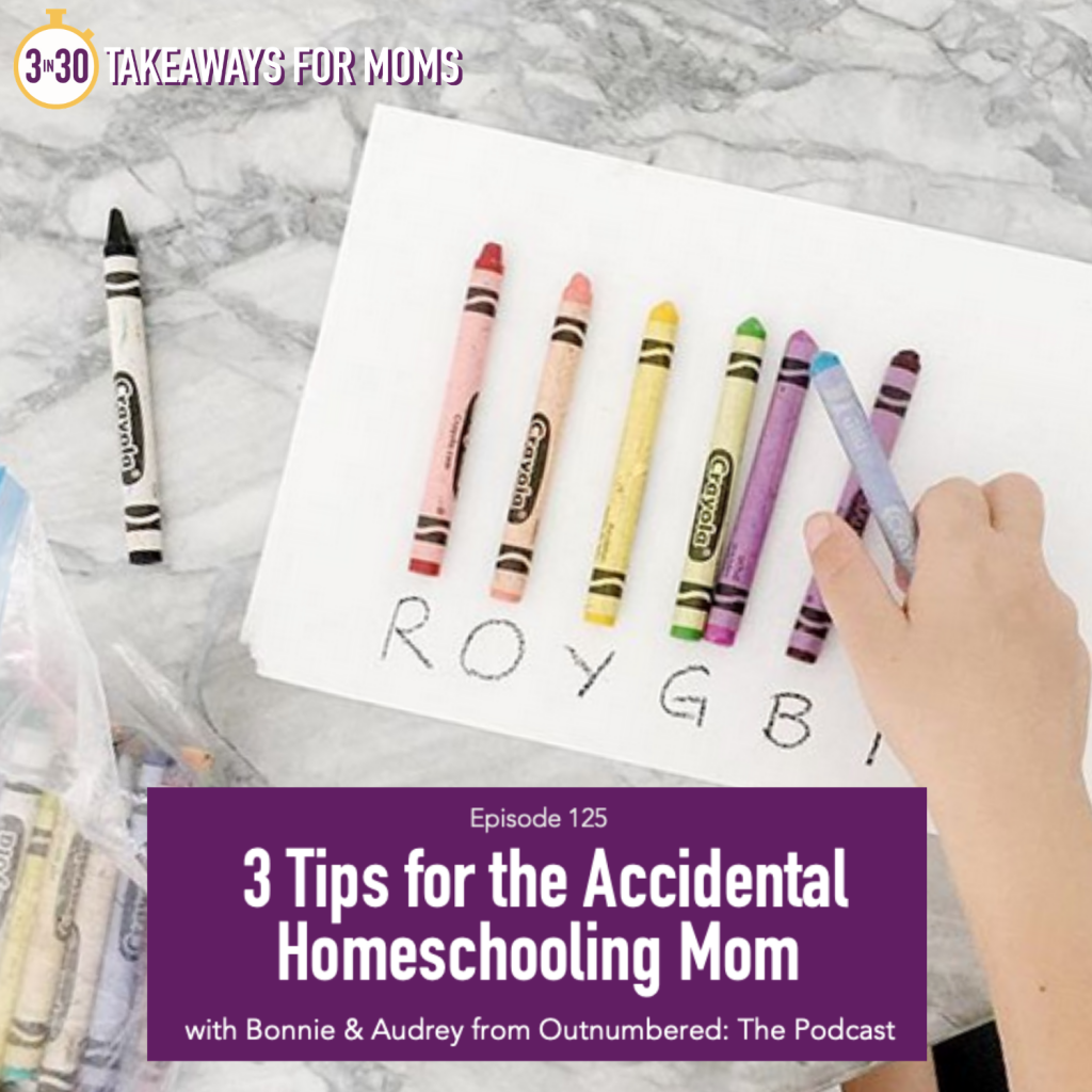 3 Tips for the Accidental Homeschooling Mom | Listen to Top Motherhood Podcast, 3 in 30 Podcast, about simple Homeschool Tips to help you adjust to your new role as an accidental homeschooling parent. | Homeschooling How To by popular US mom podcast, 3 in 30: image of a child identifying colors with crayons.