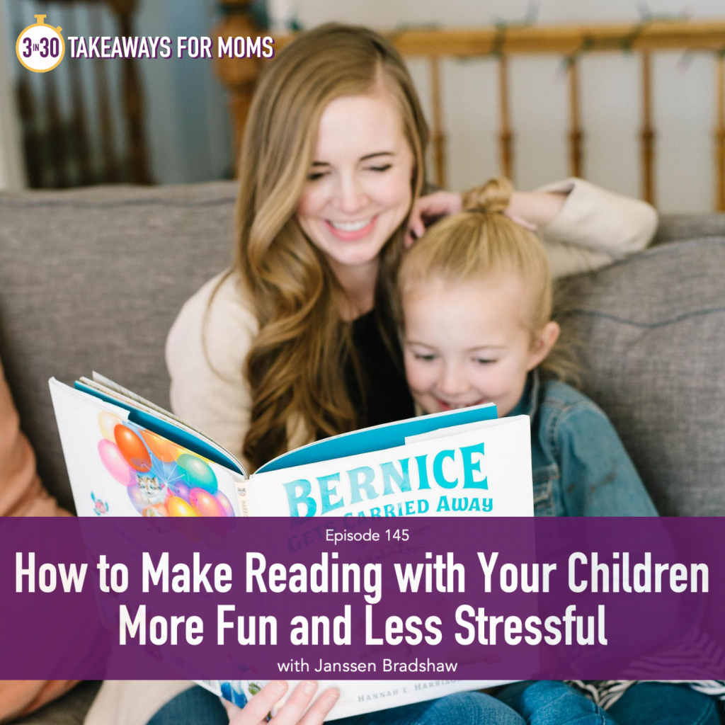 Janssen Bradshaw by popular US mom podcast, 3 in 30 Podcast: image of Janssen Bradshaw sitting on a couch with her daughter and reading a picture book together.