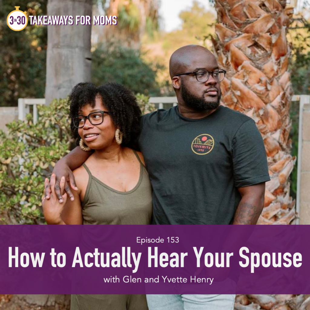 3 in 30 Podcast, Top Motherhood Podcast, Yvette & Glenn Henry, How to Actually Hear your Spouse, How to Start Difficult Conversations, picture of black couple together but looking in different directions, click to listen | Yvette and Glen Henry by popular US mom podcast, 3 in 30 podcast: image of Yvette and Glen Henry