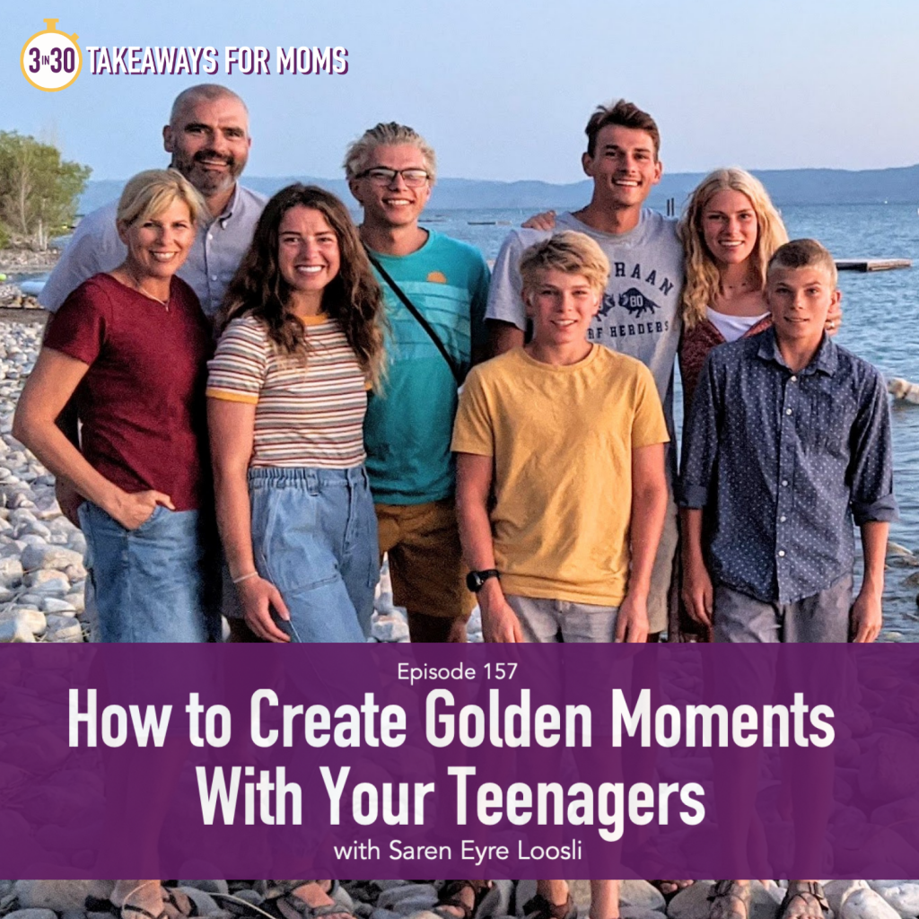 How to Create Golden Moments with your Teenagers, Saren Eyre Loosli, Flecks of Gold Journal, picture of Saren with her family at the beach, connecting with teenagers | Saren Eyre Loosli by popular US mom podcast, 3 in 30 Podcast: image of Saren Eyre Loosli with her family at the beach.