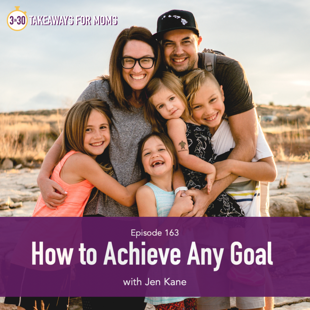 How to Achieve Your Goals in Life, Image of Jennifer Kane and family, happy woman with her family outside, by popular US mom podcast, 3 in 30 Takeaways for Moms Podcast | How to Achieve Goals by popular US mom podcast: image of a family standing together on a beach.