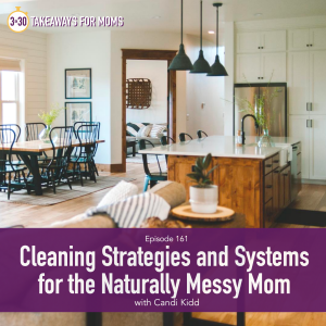 Cleaning Strategies and Systems for the Naturally Messy Mom, with Candi Kidd, professional organizer, Image of. clean, organized kitchen and dining room, modern, by popular US mom podcast, 3 in 30 Podcast