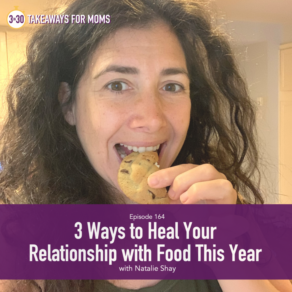 3 Ways to Heal Your Relationship with Food this Year | Darla Trendler | 3 in 30 Podcast, a top motherhood podcast, Picture of happy woman eating a cookie, picture of Darla Trendler, Counselor | Relationship with Food by popular US mom podcast, 3 in 30 Podcast: image of Natalie Shay eating a chocolate chip cookie.