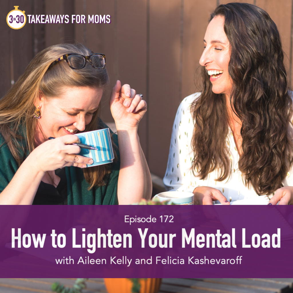 Click to listen to Top Motherhood Podcast, 3 in 30 Podcast with Rachel Nielson hosting Aileen Kelly and Felicia Kashevaroff of Tend Task about Lightening your Mental Load, image of two women laughing, image of woman drinking from a mug, image of Aileen Kelly and Felicia Kashevaroff