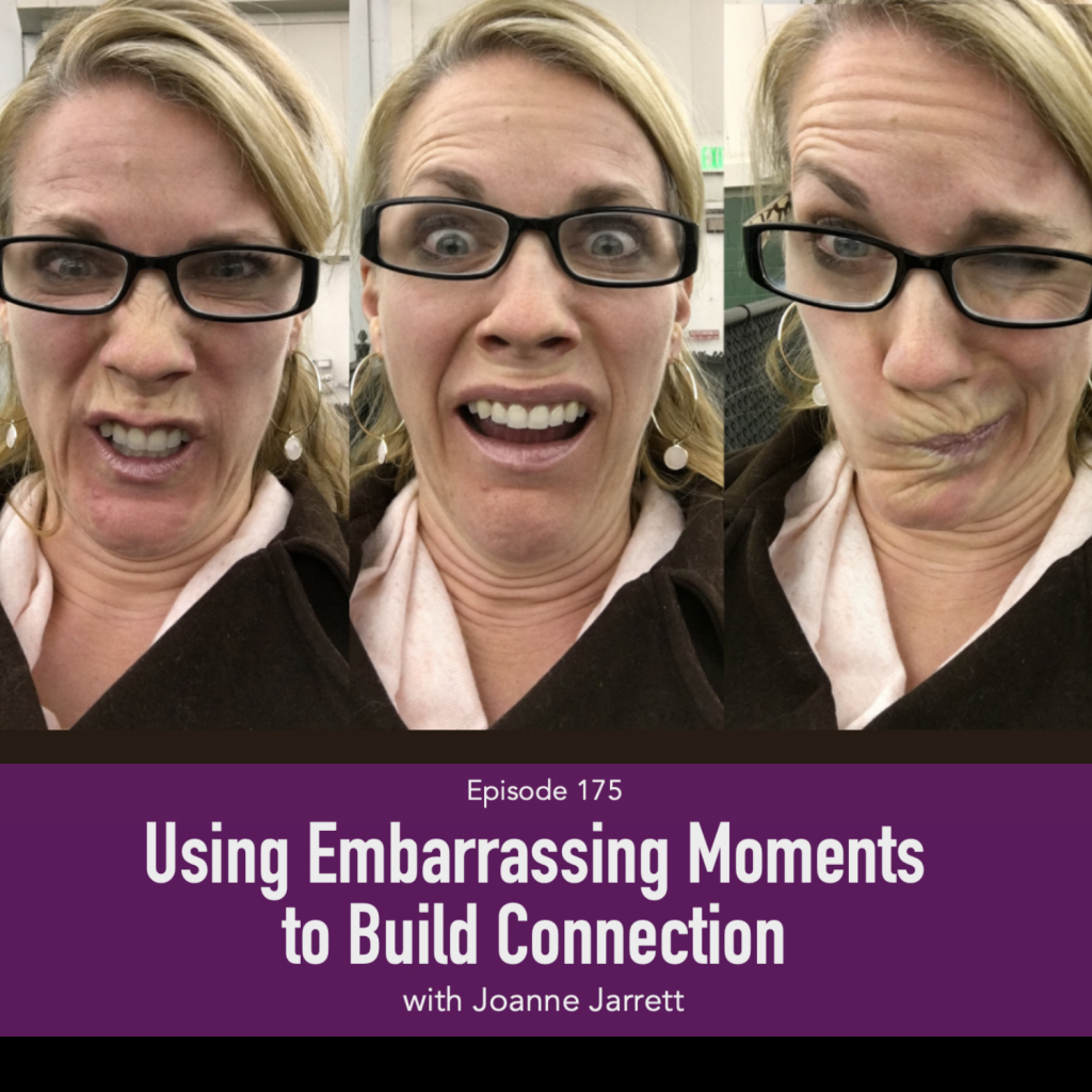 Using Embarrasing Moments to Build Connection | Listen to Top Motherhood Podcast, 3 in 30 Podcast, featuring Joanne Jarrett of the Fancy Free Podcast about Using Embarrasing Moments to Build Connection, image of woman making funny faces, women having fun, image of Joanne Jarrett